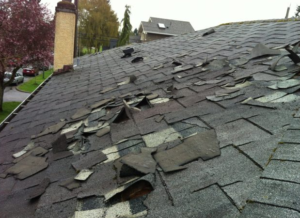 Signs of roof damage in a photo